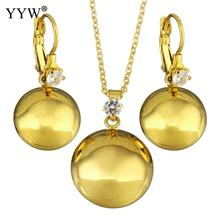 YYW Fashion Stainless Steel Jewelry Sets earring & necklace Dome gold color plated oval chain for woman rhinestone Sold By Set