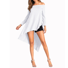 Women Sexy Off Shoulder Tops 207 Autumn Slash Neck Long Sleeve Blouse Shirts Backless Asymmetrical Hem Solid Blusas Pullover(China)