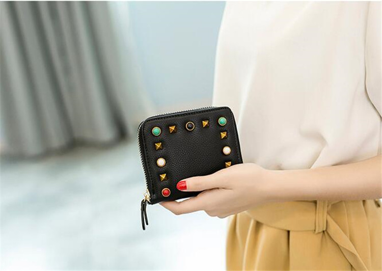 MJ Women Wallets Fashion Colorful Rivets PU Leather Zipper Coin Purse Card Holder Short Wallet with Chain Shoulder Strap (39)