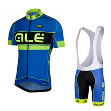 2017 Custom Men Summer Cycling Jersey Blue ALE Ciclismo Cycling Clothing Bike Pro Sport Wear Bicycle Jersey Sets Ropa Ciclismo