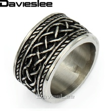 15mm Punk Engraved Irish Knot Mens Black Silver Tone Band Ring 316L Stainless Steel Ring US Sz 7-13 LHR55(China)