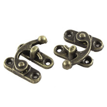 UXCELL 2Pcs 33Mmx29mm Antique Brass Color Jewelry Cigar Box Hasp Hook Lock Latch(China)
