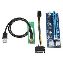 5pcs PCI-E PCI 1X-16X Blue Express Extender Miner Riser Card Adapter 15Pin Power USB3.0 Cable M2 NGFF Slot Borad Riser Borad(China)