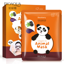 5Pcs/lot BIOAQUA Moisturizing Animal Face Masks  Panda Facial Mask Skin Care Oil Control  Whitening Blackberry Essence For Women