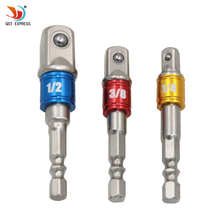 "3 Sizes Color 1/4 ""3/8"" 1/2 ""Steel Socket Adapter Hex Shank Set Extension Drill Bits Bar Hex Bit Set Power Tools(China)"