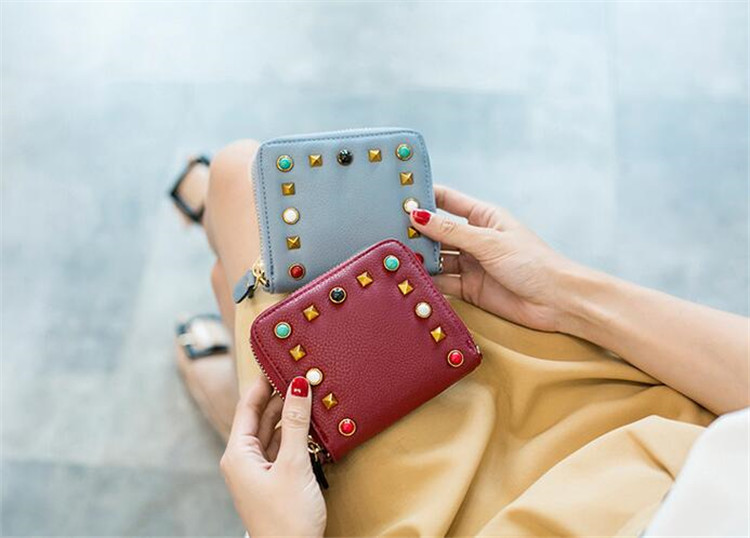 MJ Women Wallets Fashion Colorful Rivets PU Leather Zipper Coin Purse Card Holder Short Wallet with Chain Shoulder Strap (23)