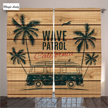 Curtains Mediterranean Wave Patrol Minivan Automobile Surfing Hippie Palm Trees Wooden Living Room Bedroom Brown 290x265 cm home