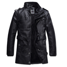 Autumn/winter man's jacket, high quality men's leather coat and long - style water - washed motorcycle leather and garment 75