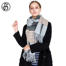 FS Cashmere Scarf Women Striped Patchwork Tassel Winter Warm 2018 Long Wool Luxury Brand Scarves Shawls Wraps Echarpe Pashmina(China)