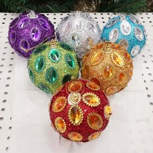 High Quality 6 Colors Different Colors Christmas Ball With Rhinestones Christmas Tree Decoration Christmas Ornament