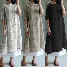 Buy S-5XL Celmia Womens Summer Dress Vestidos 2018 Casual Loose Linen Dresses Women Plaid Vintage Sundress Women Clothes Plus Size for $6.99 in AliExpress store
