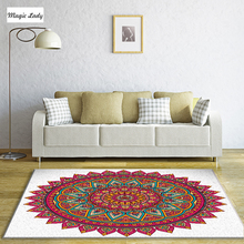 Carpet Poliester Feminine Mandala Circular Triangles Living Room Native Ornament Decor Round Bedroom Indian White Pink Fuchsia