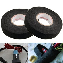 1Roll 19mm x 15M Black Color Wiring Harness Tape Strong Adhesive Cloth Fabric Tape For Looms Cars(China)