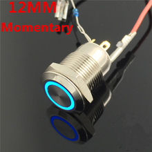 1pcs 12mm Waterproof Momentary Flat Round Stainless Steel Metal Push Button Switch Colorful LED Light Shine Car Horn Auto Reset