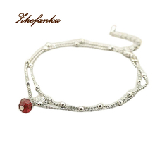 2016 Trendy Charming Jewelry Red Crystal Bead Shiny Swan Double Anklet Color Silver Plated Drop Shipping(China)