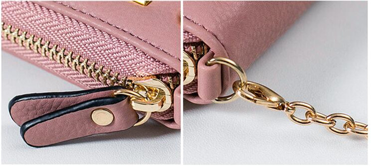 MJ Women Wallets Fashion Colorful Rivets PU Leather Zipper Coin Purse Card Holder Short Wallet with Chain Shoulder Strap (15)