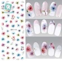 Rocooart DS310 Water Transfer Nails Art Sticker Harajuku Elements Color Fantacy blurred Flower Nail Wraps Sticker Manicura Decal
