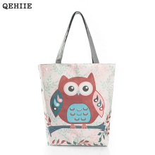 Cartoon Owl Woman Canvas Bag Large Capacity Woman Daily Supermarket Shopping Handbag Essential Cute Fashion Women Shoulder Bags(China)