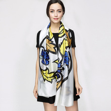 180cm*90cm Women 2017 New Fashion Euro Brand Designer British Style Flower Print Long Silk Scarf Big Shawl Foulard YAU028