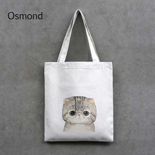 Osmond Cute Cat Printing Canvas Handbag Women Shoulder Bags Black White Shopping Bags Daily Use Casual Totes Cartoon Bag Zip(China)