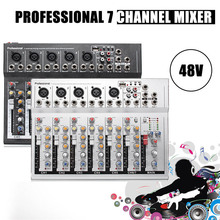 48V Mini Professional USB Mixing Console 7 Channel Live Studio Audio Mixer KTV Network Anchor Sound Card Sound Console Mixer(China)