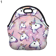 Kids Lunch Bag Thermal Insulated Cooler Cartoon Unicorn Print Zipper Tote Bag(China)