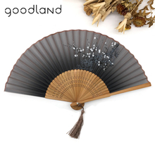 Free Shipping 1pcs Spun Silk Elegant Asian Pocket Folding Fan Wintersweet Pocket Fan Hand Fan with Flower Wedding Party Fan(China)