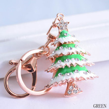2017 Fashion 3 Colors Optional Metal Christmas Tree Keychain Crystal Rhinestone Car Accessory Gift Bag Pendant(China)