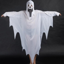 White Ghost Tattered Gown Mask Girl Boy Children Halloween Fancy Dress Costume(China)