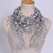 Scarf For Women Flower Lace Silk Triangle Female Baby Girls Tassel Shawls and Scarves Autumn 18 Colors Photo Accessories(China)