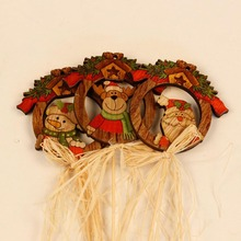 New Wooden Wall Hang Pendant Snowman Santa Claus Deer Decoration Plaque Sign Welcome Home Gift Cartoon Wall Hanging(China)