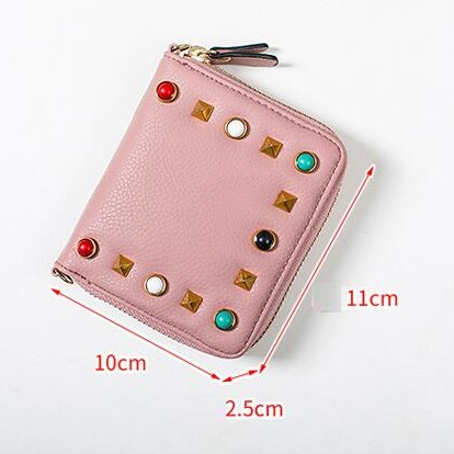 MJ Women Wallets Fashion Colorful Rivets PU Leather Zipper Coin Purse Card Holder Short Wallet with Chain Shoulder Strap (20)
