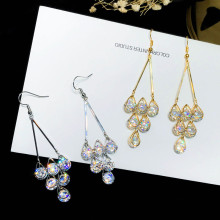 Fashion jewelry 925 silver new crystal from Swarovski charm Bright color zircon circle super flash tassel wedding earrings(China)