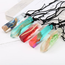 Handmade Ink Painting Resin Wood Pendant Necklace Women Men Long Rope Sweater Chain Necklace Wooden Necklace Pendants Jewelry(China)