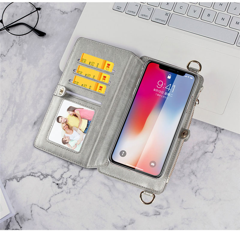4 in 1 Leather Wallet Bag Case for iPhone X 6 6s 7 8 Plus Detachable Phone Cover Card Slot Girl Women Shoulder Bag Handbag Pouch (8)