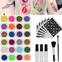 24 Colors 3D Tattoo Glitter Kit Temporary Shimmer Powder For Makeup Body Art Design Paint With Henna Stencil Glue & Brushes(China)