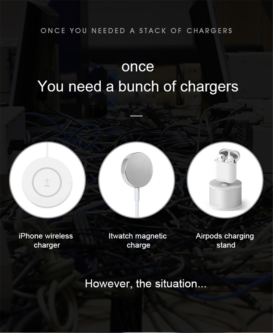 !ACCEZZ 10W 7.5 Fast Wireless Charger 3 in 1 For iphone 8 Plus X For Apple AirPods For Samsung S7 S8 S9 Mobile Phone Chargers (3)