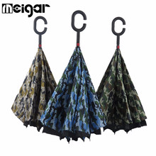 Camouflage Double Layer Inverted Umbrella Reverse Rainy Sunny with C-shaped Hands Long Handle Self Standing Inside Out
