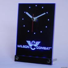 tnc0188 Wilson Combat Firearms Gun Logo Table Desk 3D LED Clock(China)