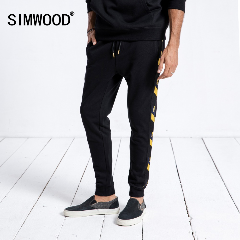 SIMWOOD Brand Sweatpants Men 2019 Winter New Jogger Pants Trousers Men Fashion Drawstring Casual Warm Hip Hop Streetwear 180542