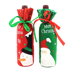 New 1Pc Santa Claus Snowman Design Wine Bottle Cover Red Wine Gift Bags Pretty Christmas Decoration Supplies Xmas Home Ornaments(China)