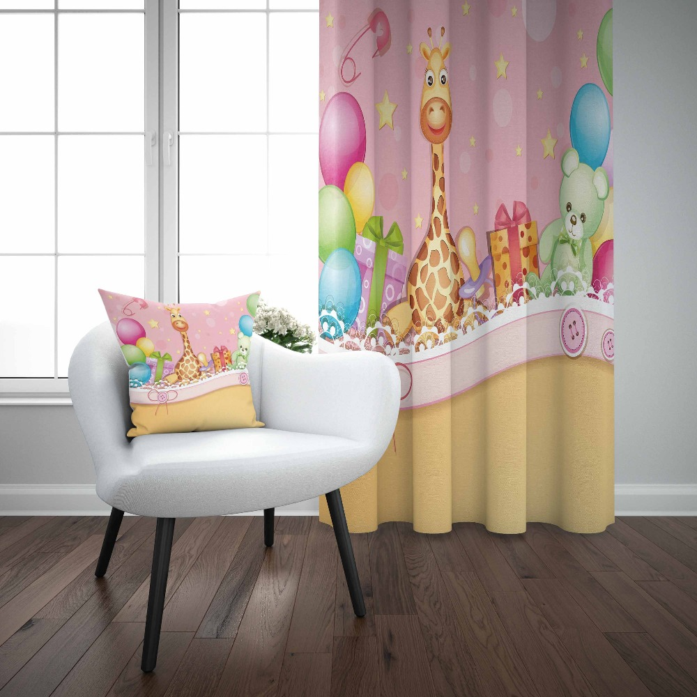 Pillow-Case Balloons Curtain Jungle Birthday-Party Kids Children Window-Panel-Set 3d-Print title=
