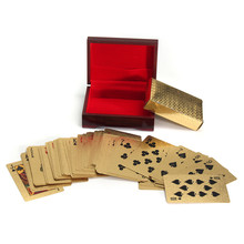 Best Deal Richly Plated in 24K Gold 54 Poker Playing Cards With Wooden Box Ideal Gift for Any Card Lovers(China)