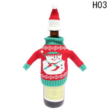 2 pcs/ set Christmas Snowman Wine Bottle Cover Set Santa Claus Sweater Hats Xmas Home Party Ornament - H-OME SUPPLIES LYDIA Store store