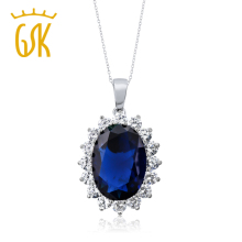 GemStoneKing 13.00 Ct Oval Blue Sapphire 925 Sterling Silver Women's Pendant Necklace(China)