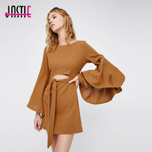 Buy Jastie O-Neck bell sleeve Mini Dress Autumn Women Dress Open Back Cut Waist Wrap Sexy Dresses Boho Chic Female Vestidos 2017 for $22.15 in AliExpress store