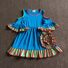 Summer Off-Shoulder Sleeve Sea Blue Feel Cold Sweet Cute Kids Clothing Actual Floral Boutique Baby Girl Dress Children Apparel(China)