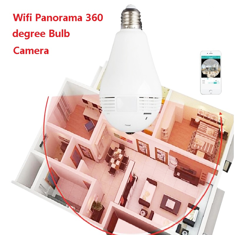 360 degree 1.3MP WIFI Bulb Panoramic camera cctv Smart Home 3D VR for Home Security WiFi Cam Wireless Fisheye<br>