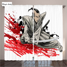 Curtains Japan Samurai Warriors Soldier Oriental Eastern Japanese Sword Blood Splashes Living Room Bedroom Red 290x265 cm home