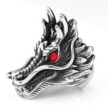 2017 new hot sale Dragon Head Rings For Men Punk Rock Style Red Stone Rings Party Jewelry personalized exaggerated rings(China)